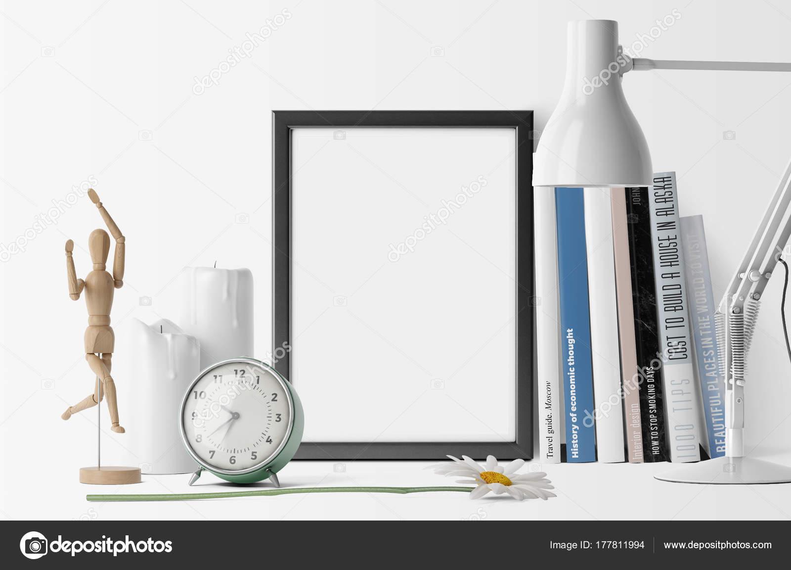 Empty Photo Frame Pile Books Alarm Clock Table Lamp — Stock Photo ...
