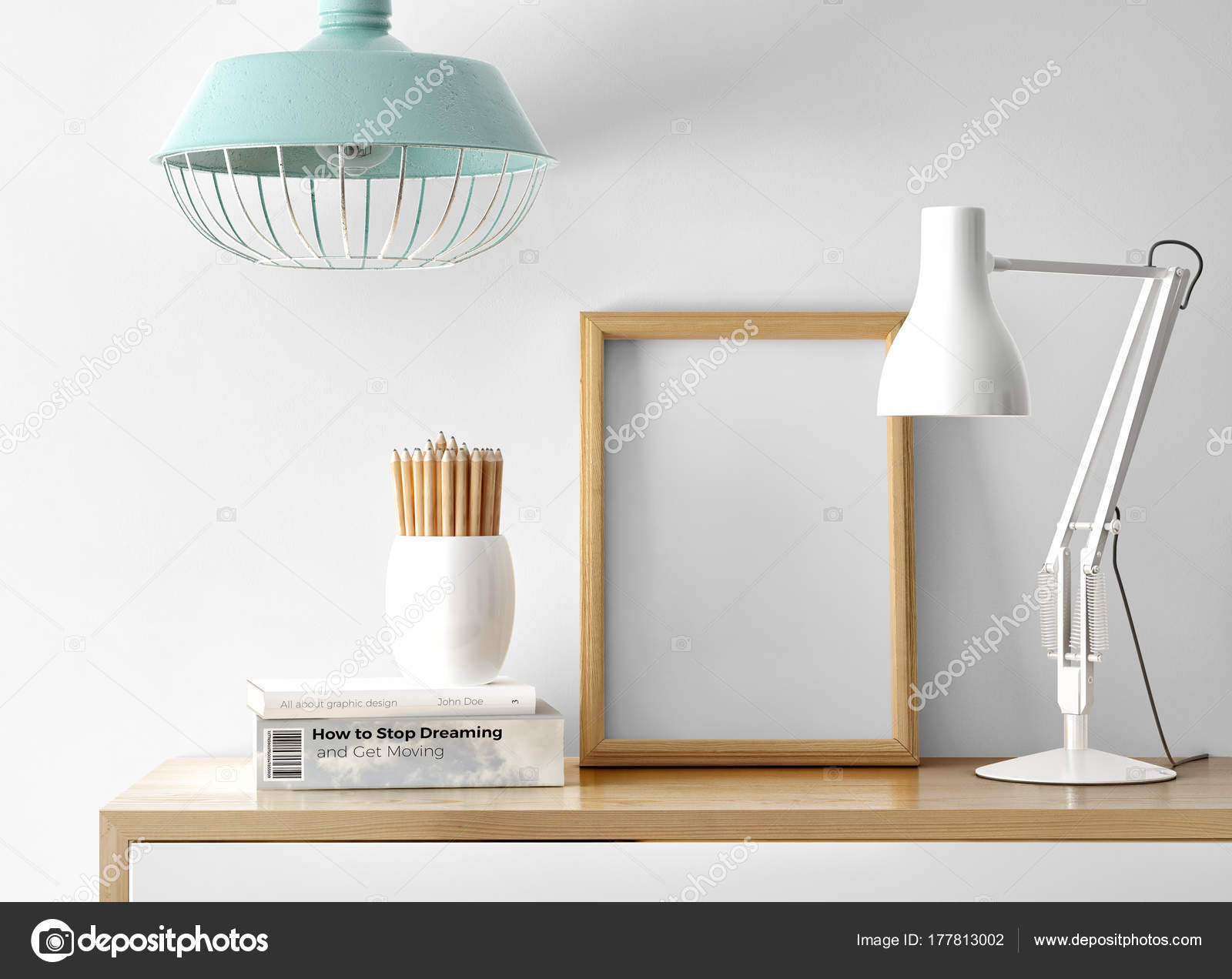 Empty Photo Frame Table Lamp Pile Books Pencils Table — Stock Photo ...