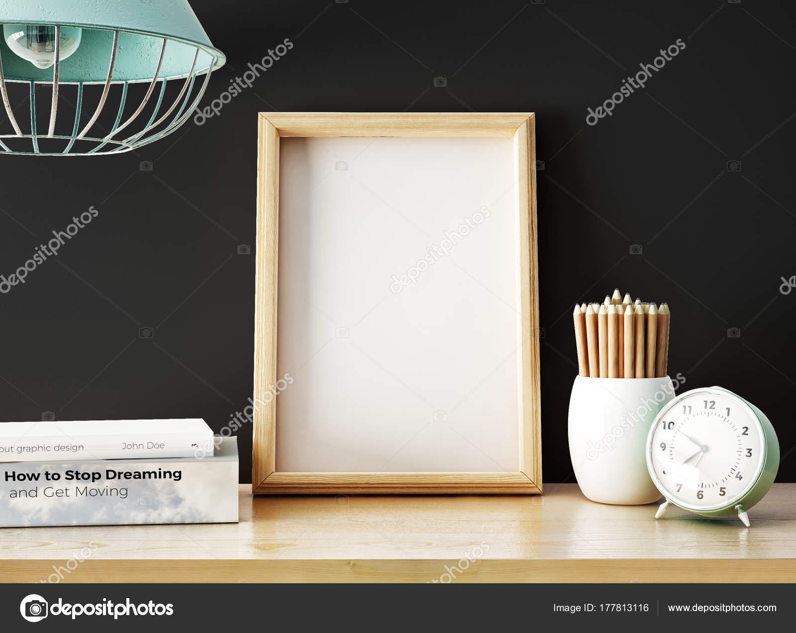 Empty Photo Frame Pile Books Pencils Alarm Clock Table — Stock Photo ...