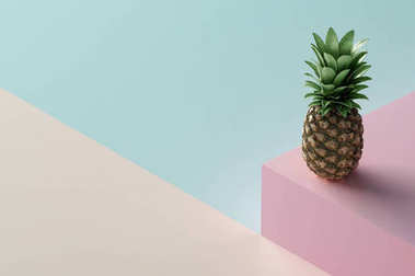 ripe tropical pineapple on color geometrical background