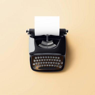 retro typewriter with empty white paper