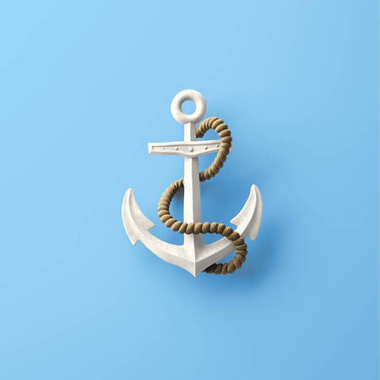3d rendering of anchor on blue background, sea concept