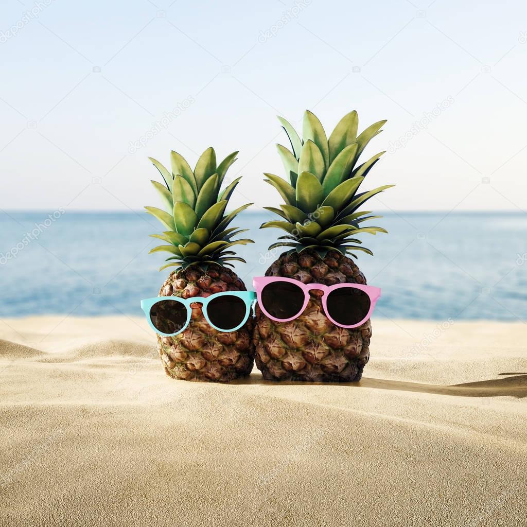 Ripe Tropical Pineapples Sunglasses Sandy Beach Vacation