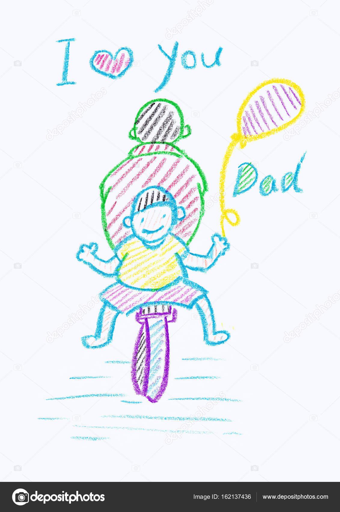 Childsın Mum Boya Bir Babalar Günü Kartı çizim Stok Foto