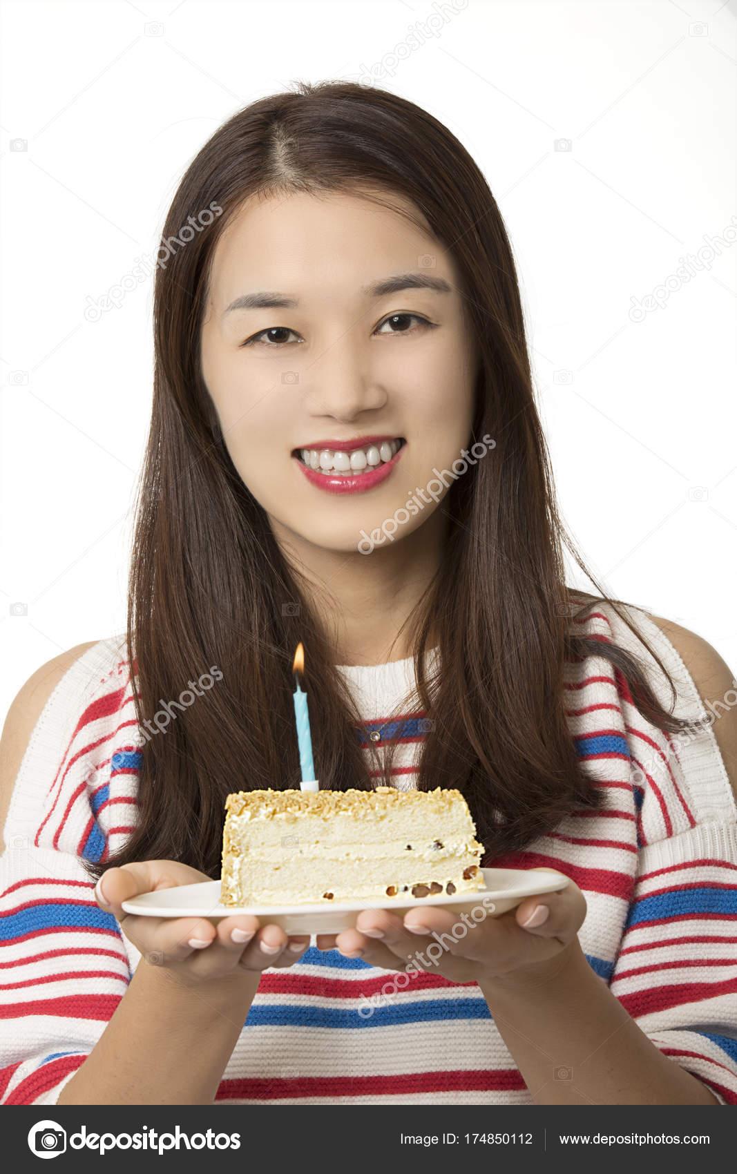 Asian Woman Holding A Birthday Cake Stock Photo Dndavis 174850112