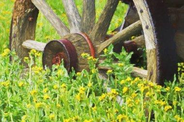 Fine art of wagon wheel and yellow flowers