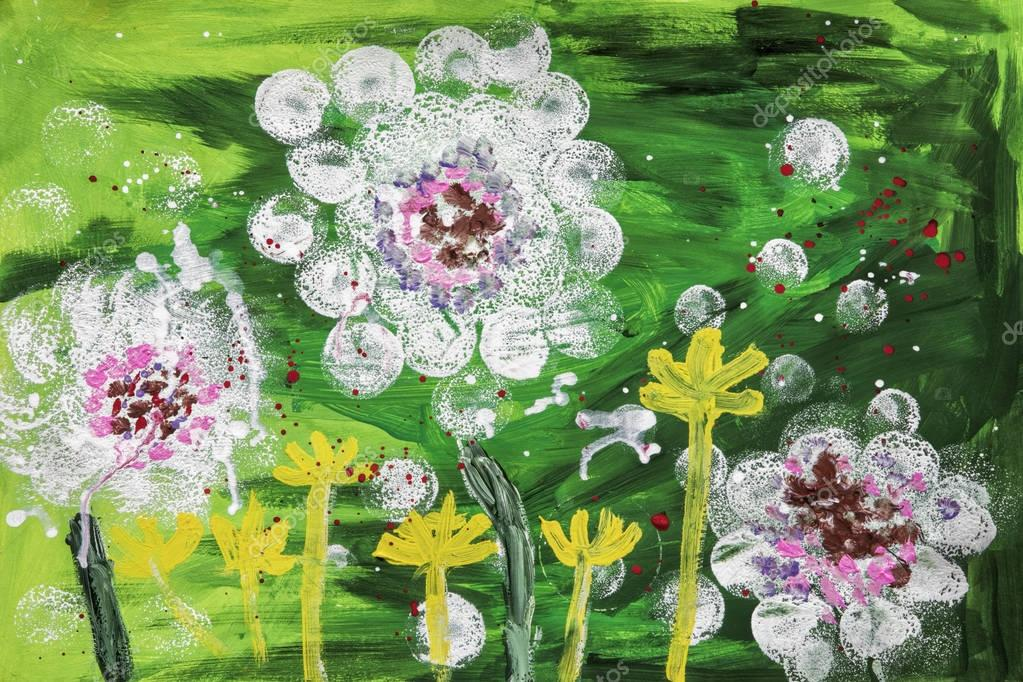 Childs acrylic painting of flowers
