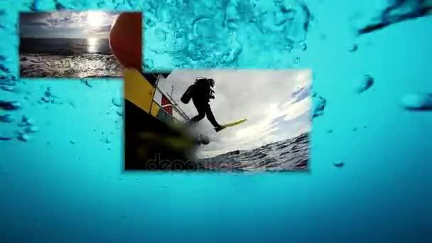 Scuba Diving Conceptual Multi Screen Video. Open Water Diving. Scuba Diver Jumping Off Dive Boat. High speed camera shot. Marine Life.