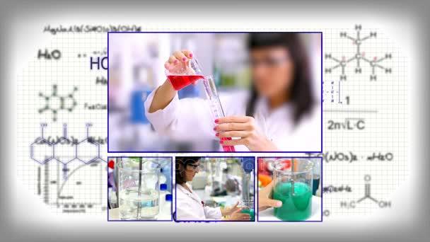 Vědecké Background.Researchers práce v laboratoři. Létající chemické vzorce