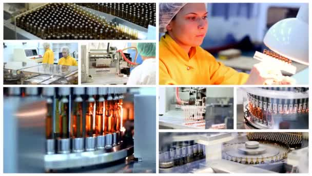 Pharmaceutical Manufacturing - Ampule Medications on the Production Line   Pharmaceutical Industry  Industrial Equipment  Pharmaceutical Workers at  Work  Medicine Production