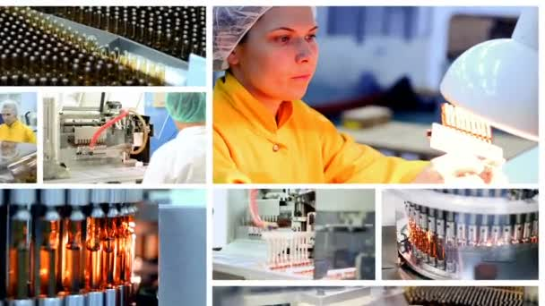 Pharmaceutical Manufacturing - Conceptual Video Animation. Pharmaceutical Industry. Industrial Equipment. Pharmaceutical Workers at Work.