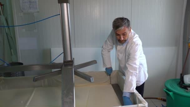 Egy késes munkás sajtot vág a sajt gyártósoron. Sajtgyártás tejüzemekben. Sajtgyári alkalmazott, aki friss sajtot keres a helyi gyárban.