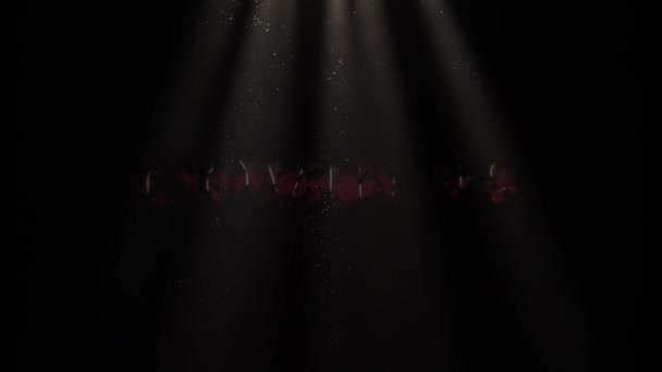 COVID-19, Coronavirus, Animated Text in Red on a Black Background With Floating Particles Through Light Beams. COVID-19 Motion Graphic. Transmission of Novel Coronavirus, COVID-19 Pandemic .