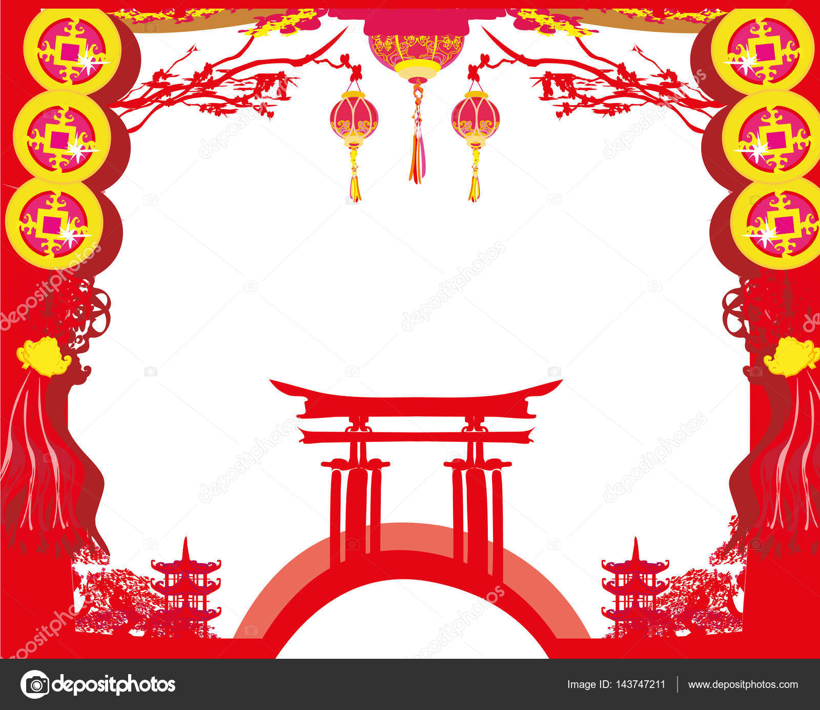 Mid-Autumn Festival for Chinese New Year card — Stock Vector ...
