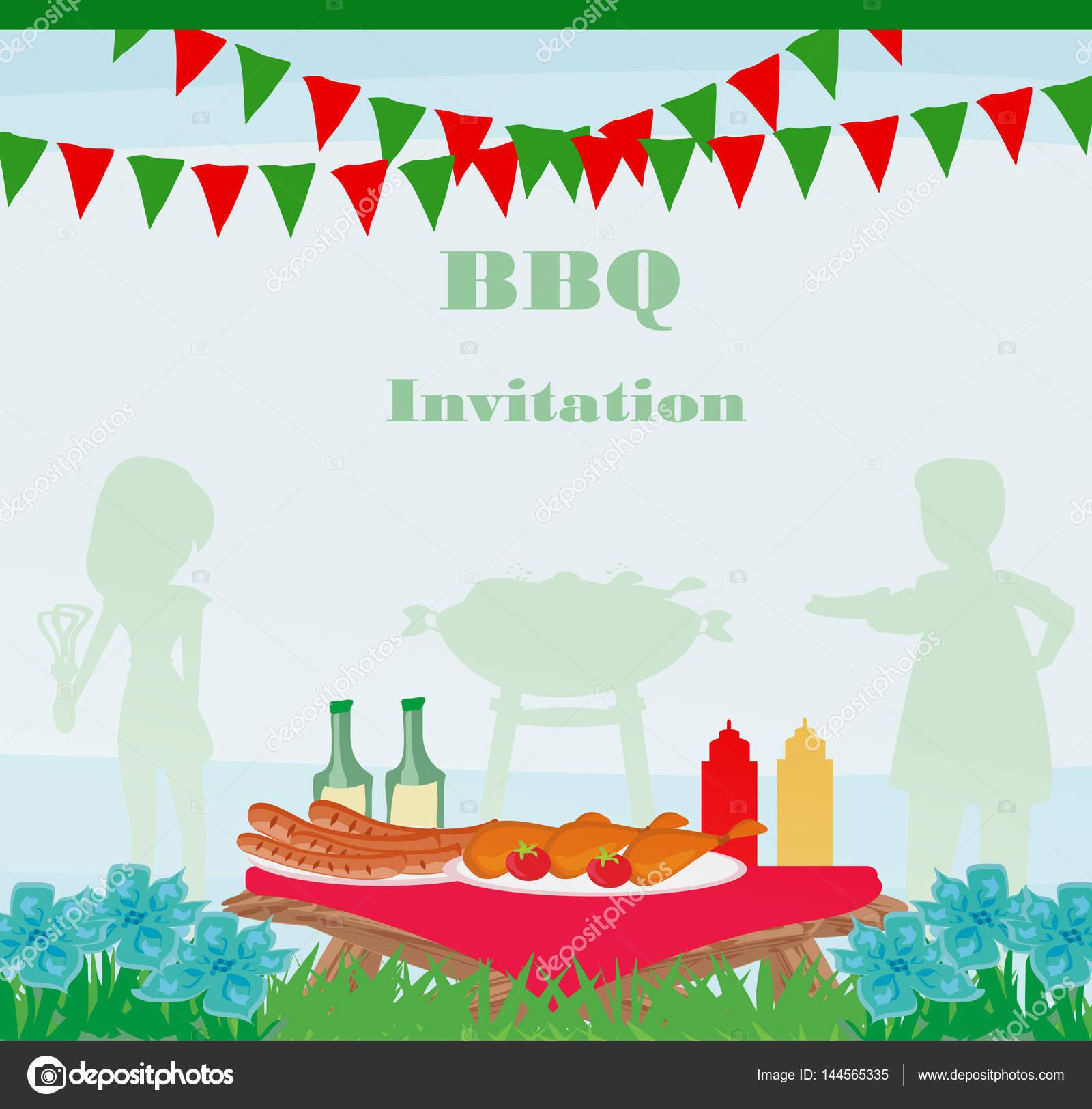 Tarjeta De Invitación De La Fiesta De Barbacoa Archivo