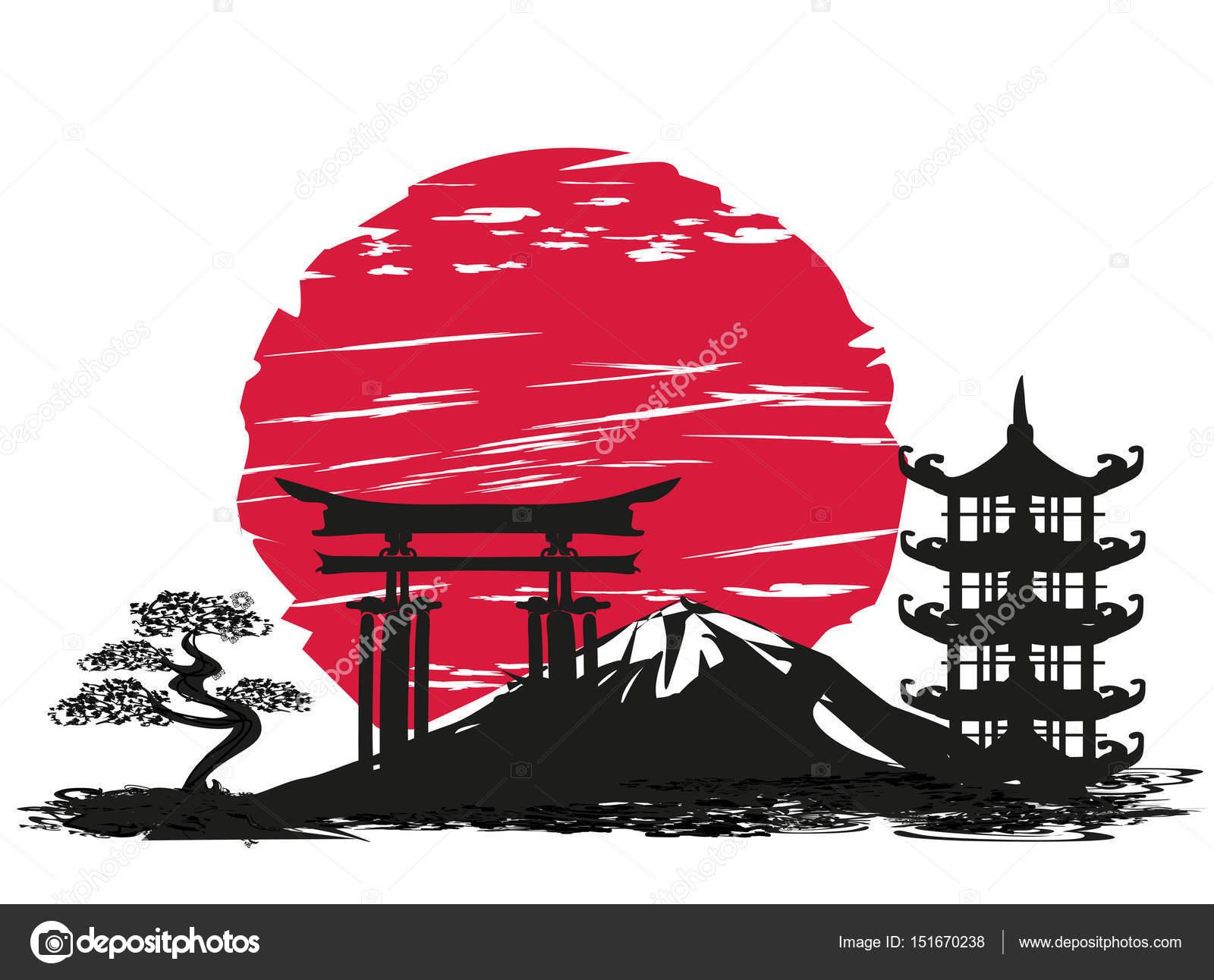 Resumen tarjeta con paisaje japonés — Vector de stock © JackyBrown ...