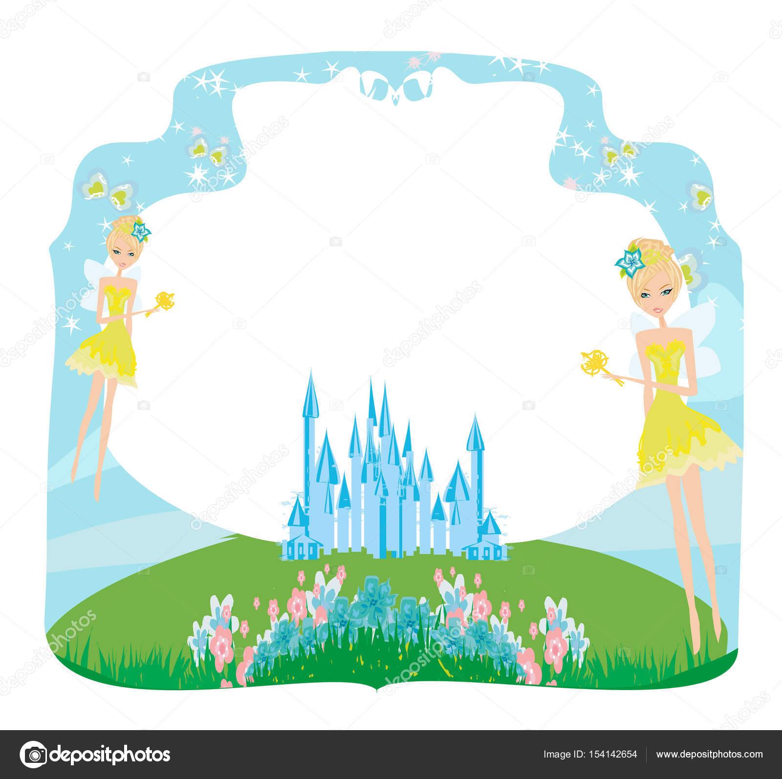 Märchen-Rahmen mit kleinen Feen — Stockvektor © JackyBrown #154142654