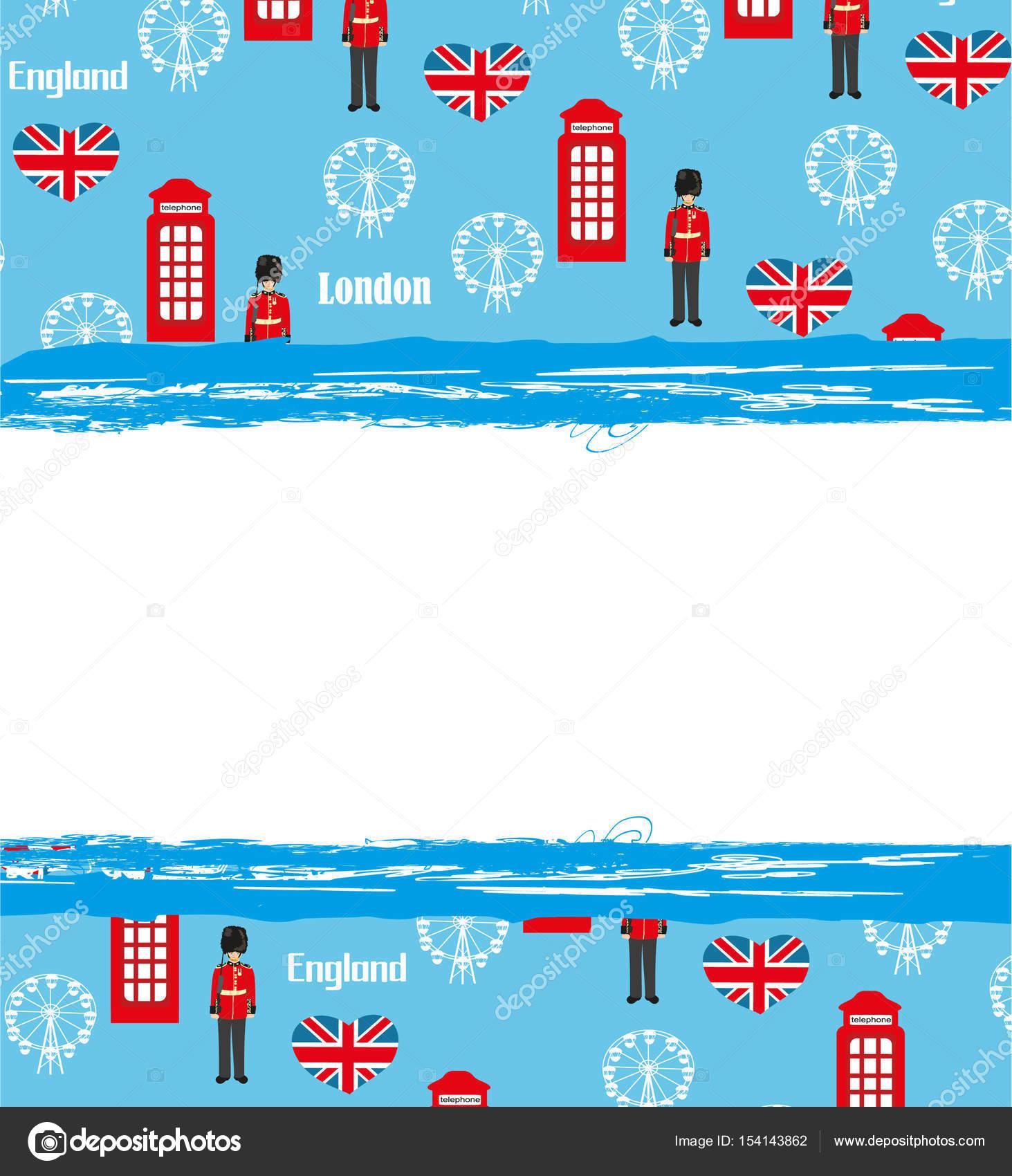 London Sehenswürdigkeiten Symbole Rahmen — Stockvektor © JackyBrown ...
