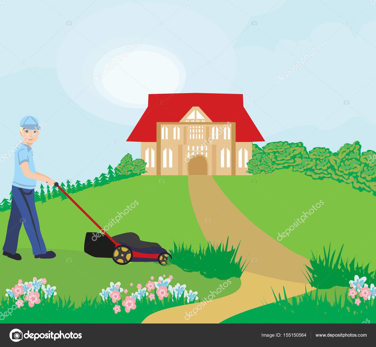 Homme tondre la pelouse image vectorielle jackybrown for Tarif pour tondre pelouse