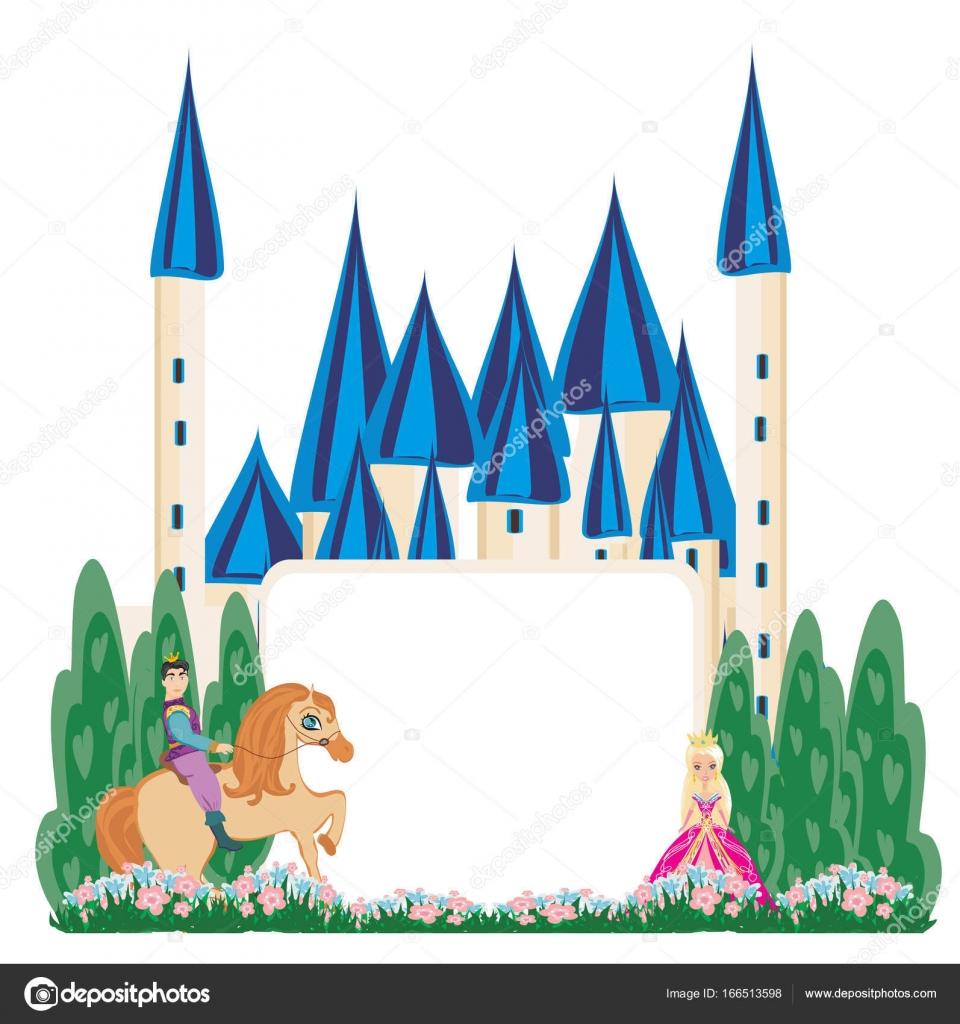 Prinz auf einem Pferd zum Schloss - abstrakten Rahmen — Stockvektor ...