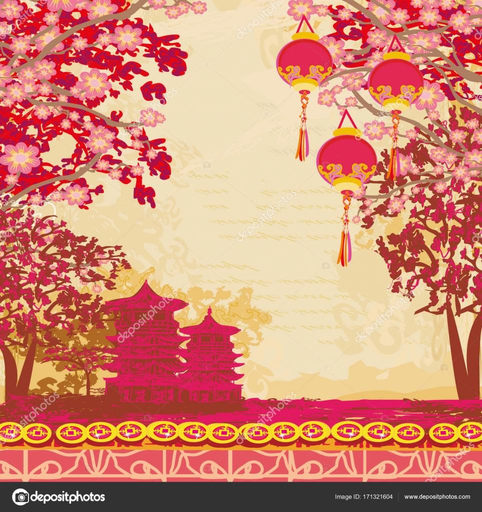 tarjeta paisaje asiático Resumen — Archivo Imágenes Vectoriales ...