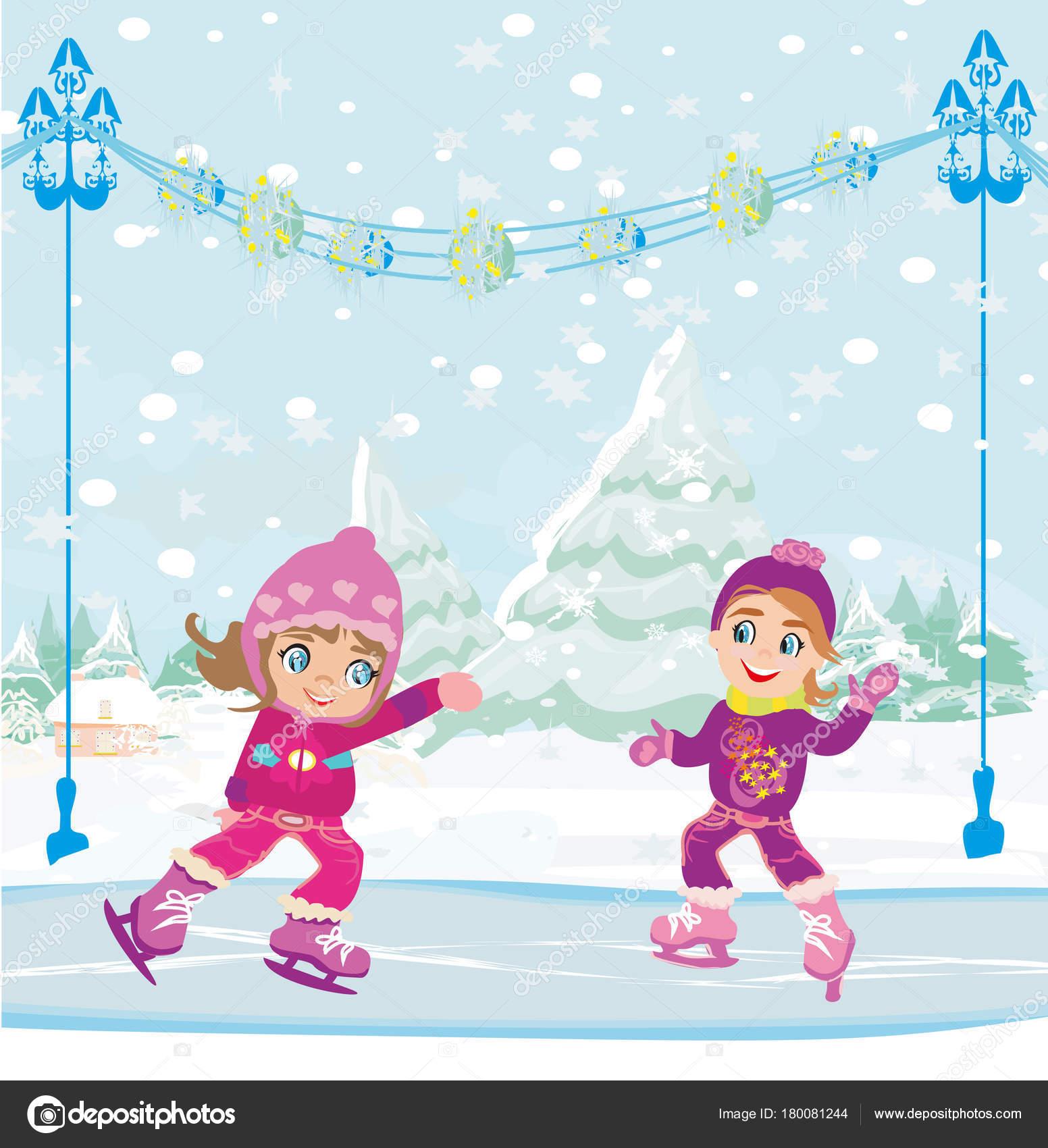 Niñas de patinaje en pista de hielo — Vector de stock © JackyBrown ...