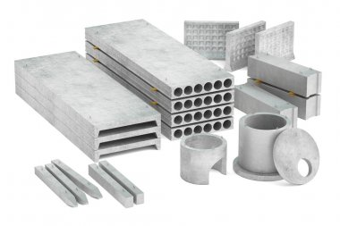 set of concrete products, 3D rendering