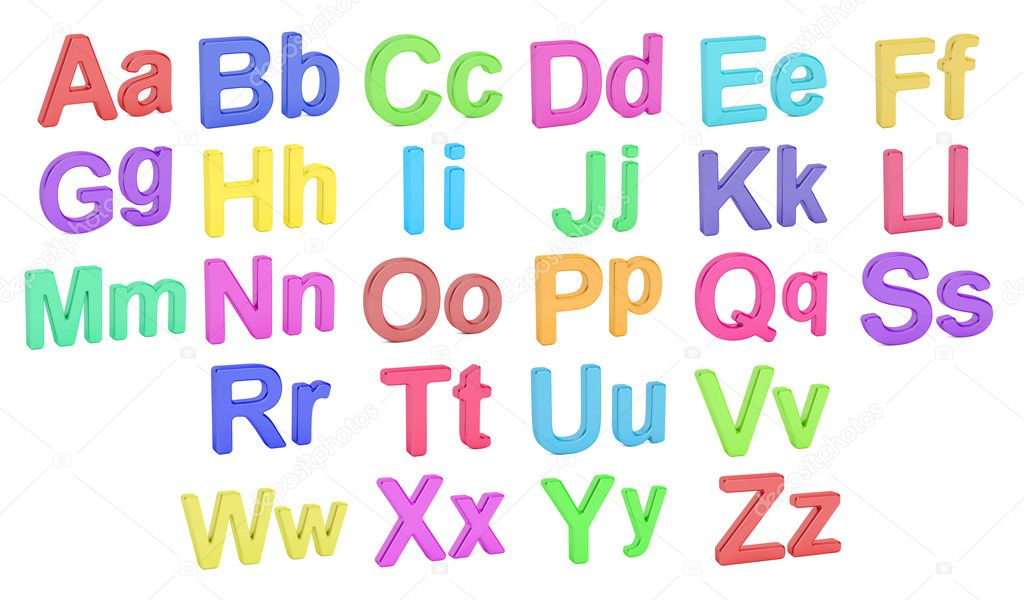 Farbige Alphabet, große und kleine Buchstaben, 3D-Rendering ...
