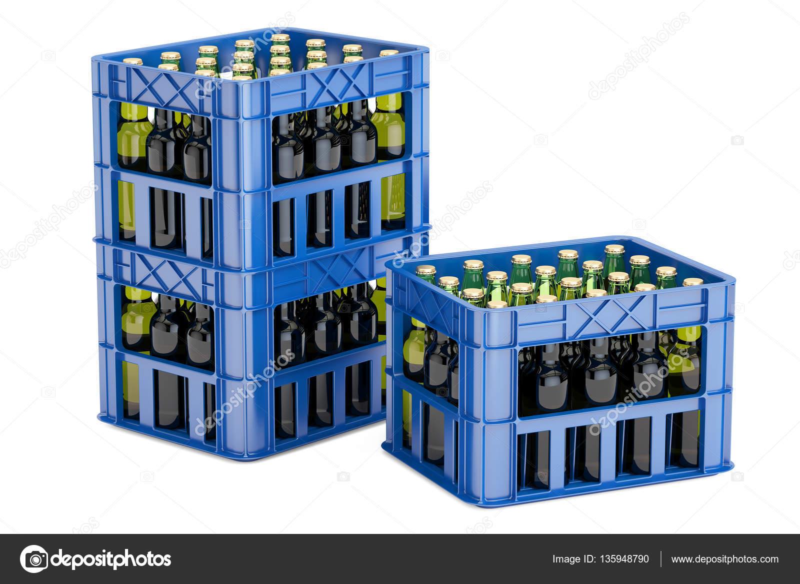 caisses en plastique avec des bouteilles de bire rendu 3d isol sur fond blanc image de alexlmx - Caisse Biere Plastique