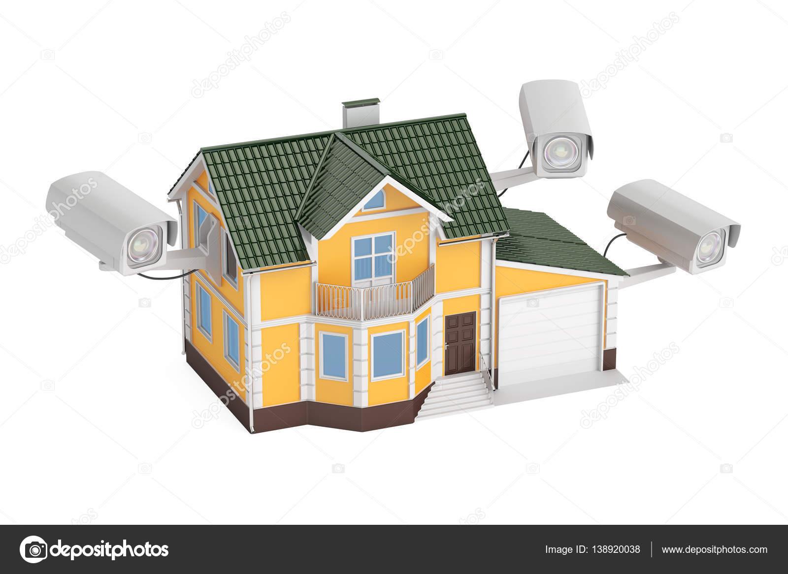 Überwachungskameras auf Kosten des Hauses, 3D-Rendering — Stockfoto ...