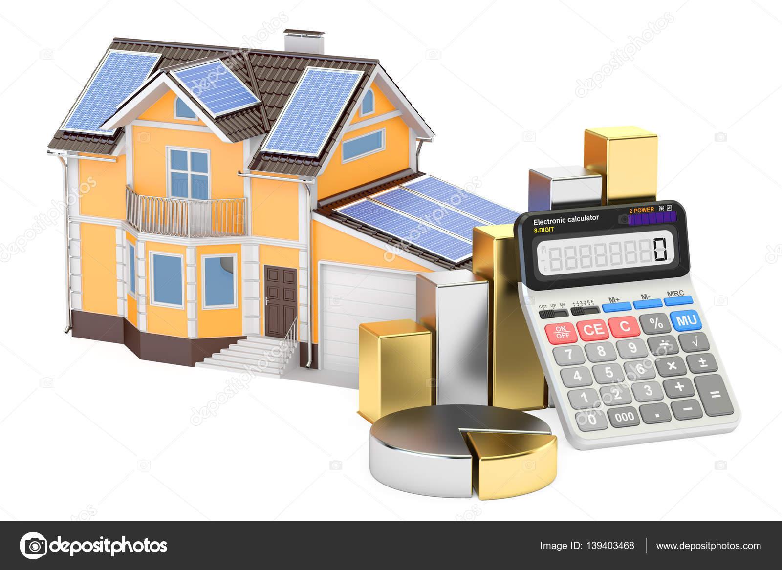 Amazing Einsparung Des Energieverbrauchs Für Haus, Effizienz Von Solar Panel U2014  Stockfoto