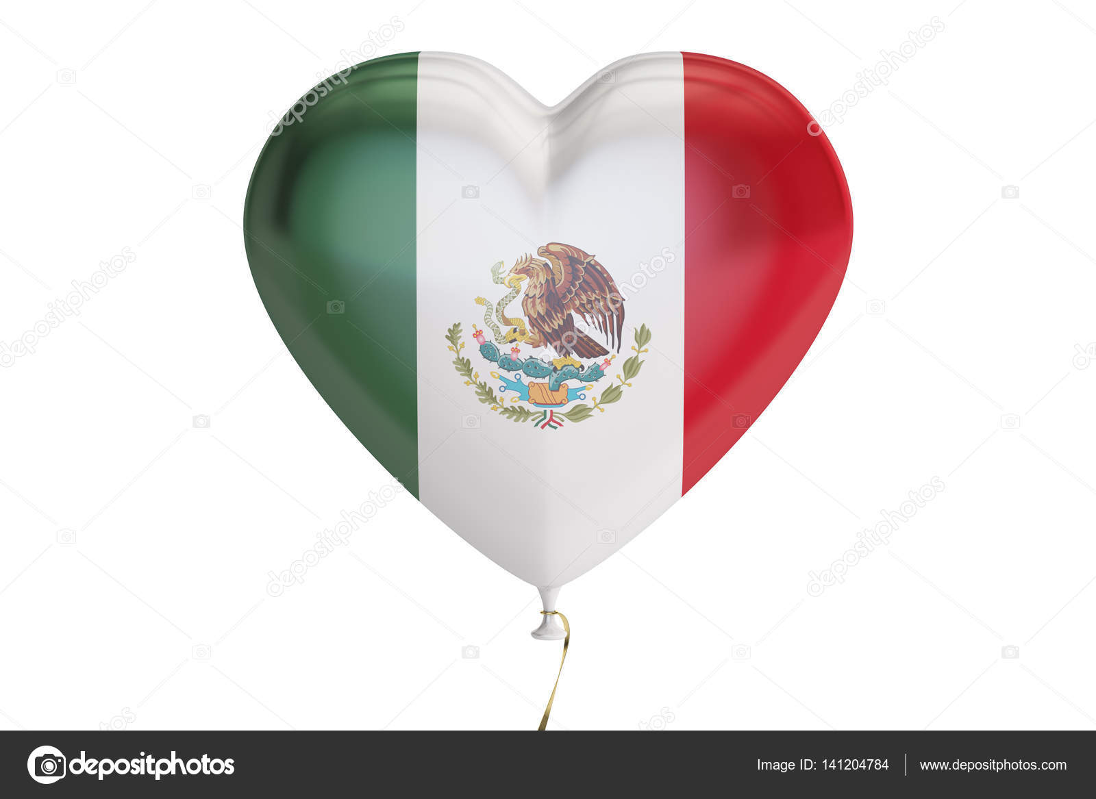 balloon with mexico flag in the shape of heart 3d rendering