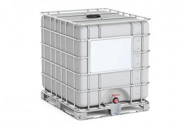 Intermediate bulk container closeup, 3D rendering