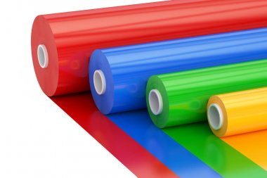 Multicolor PVC Polythene Plastic Tape Rolls, 3D rendering