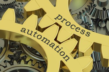 Process Automation concept on the gears, 3D rendering