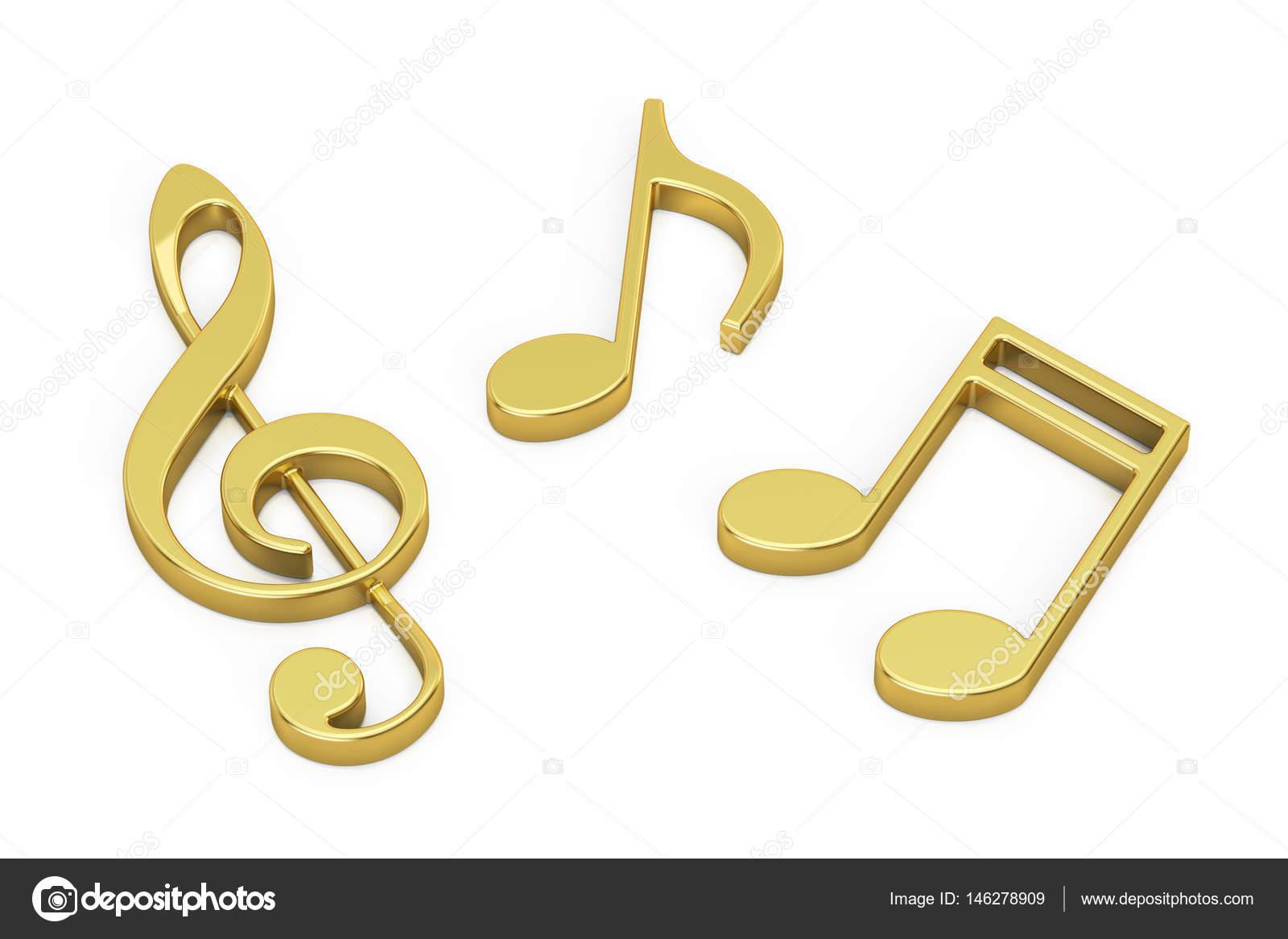 Notas Musicales De Oro De Render 3d