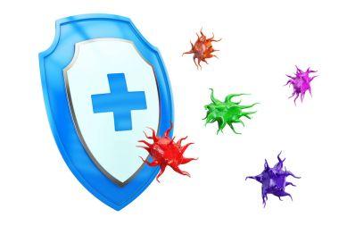 Antibacterial or anti virus shield, health protect concept. 3D r