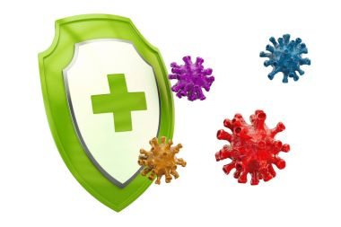 Antibacterial or antivirus shield, healthcare concept. 3D render
