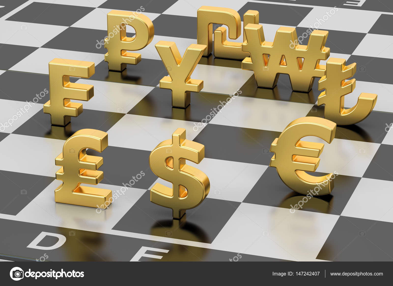 Money concept currency symbols on chess board 3d rendering money concept currency symbols on chess board 3d rendering stock photo biocorpaavc Gallery