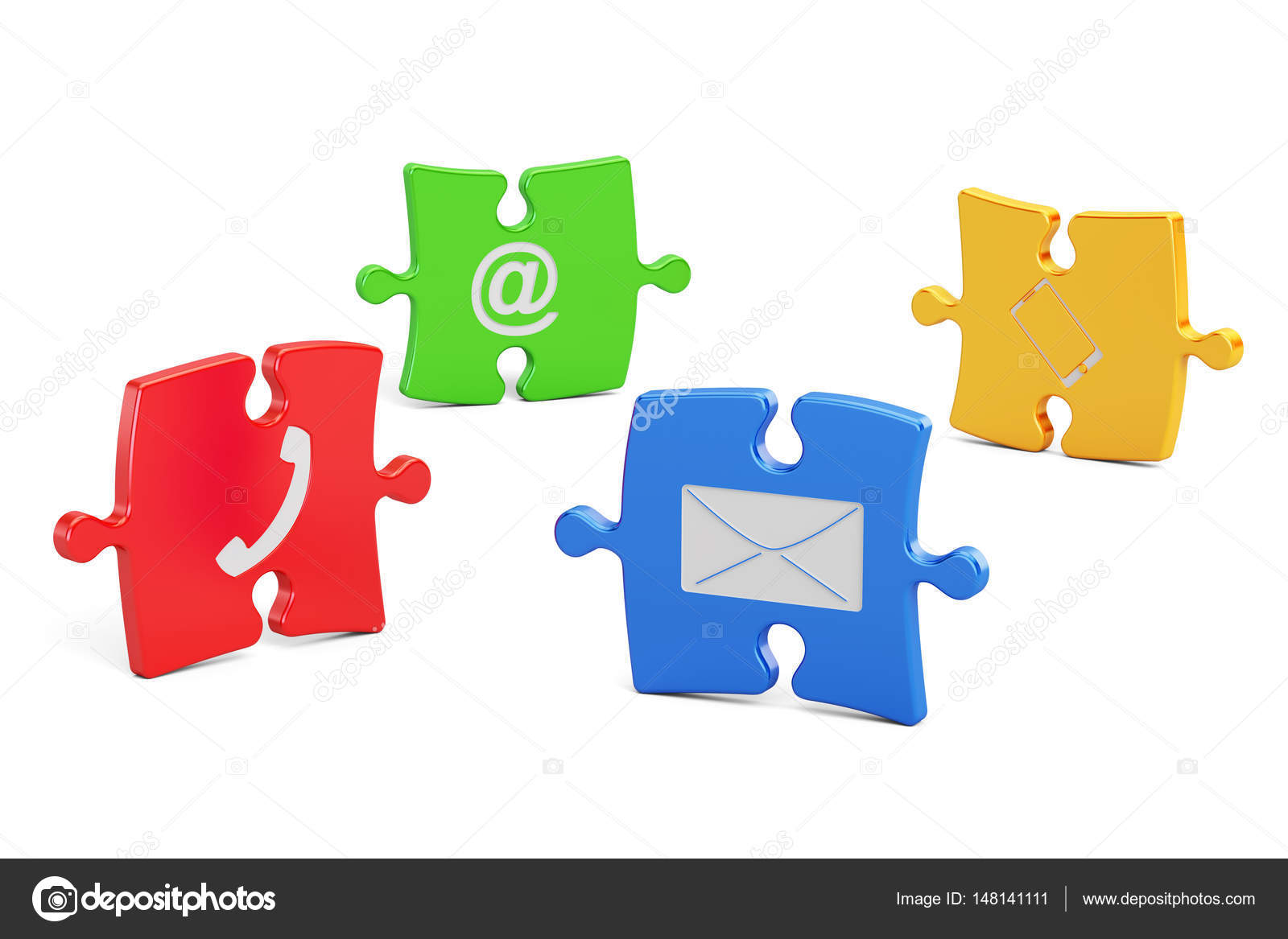 Color Puzzle With Contact Us Symbols 3d Rendering Stock Photo