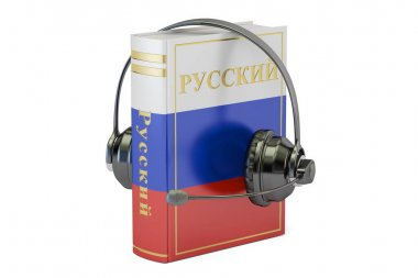 Russian language textbook with headset, learning and translate c