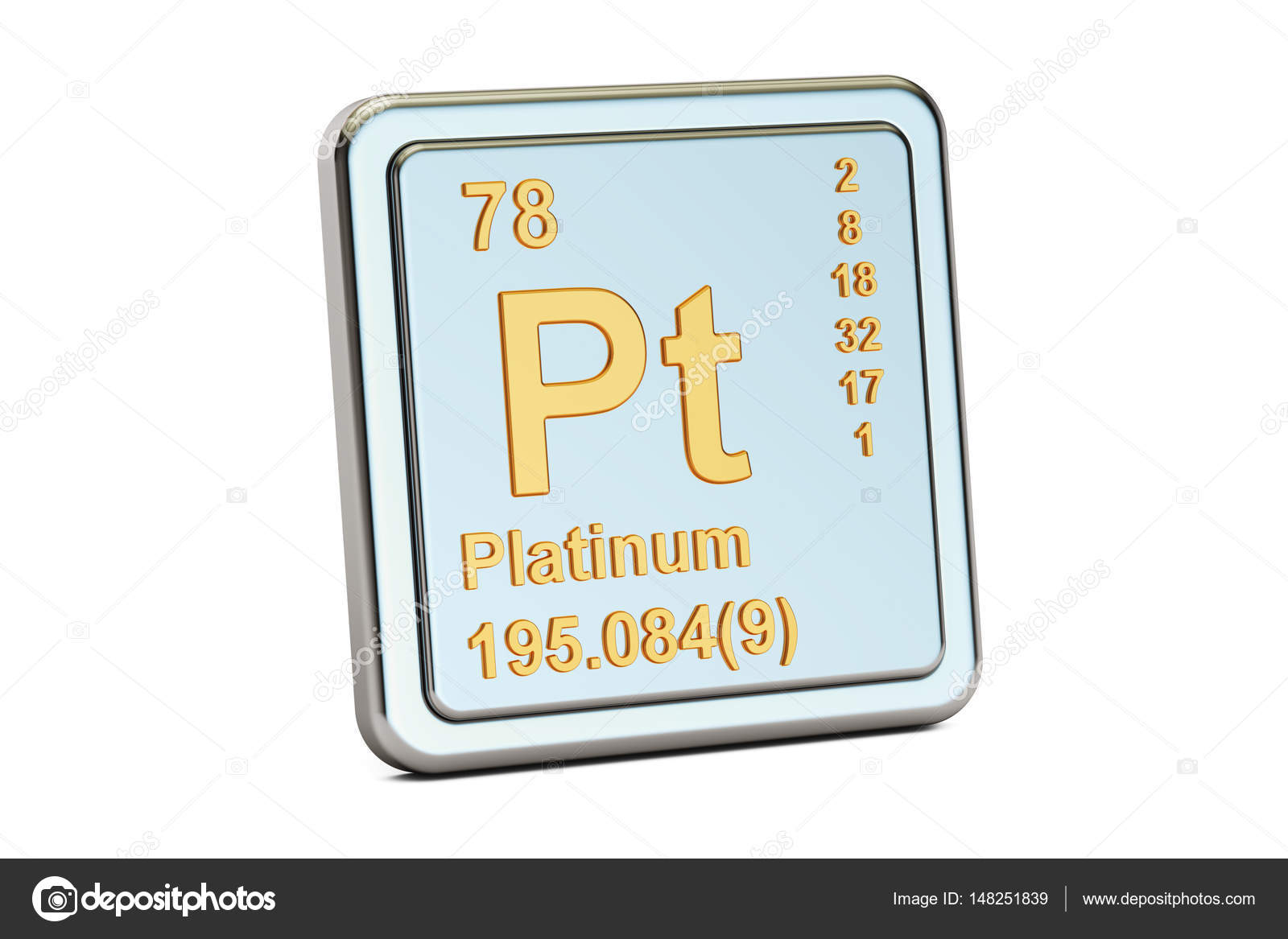 atomic model and element platinum detailed vector of large