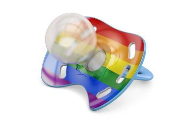 LGBT adoption concept, baby pacifier with rainbow gay flag. 3D r
