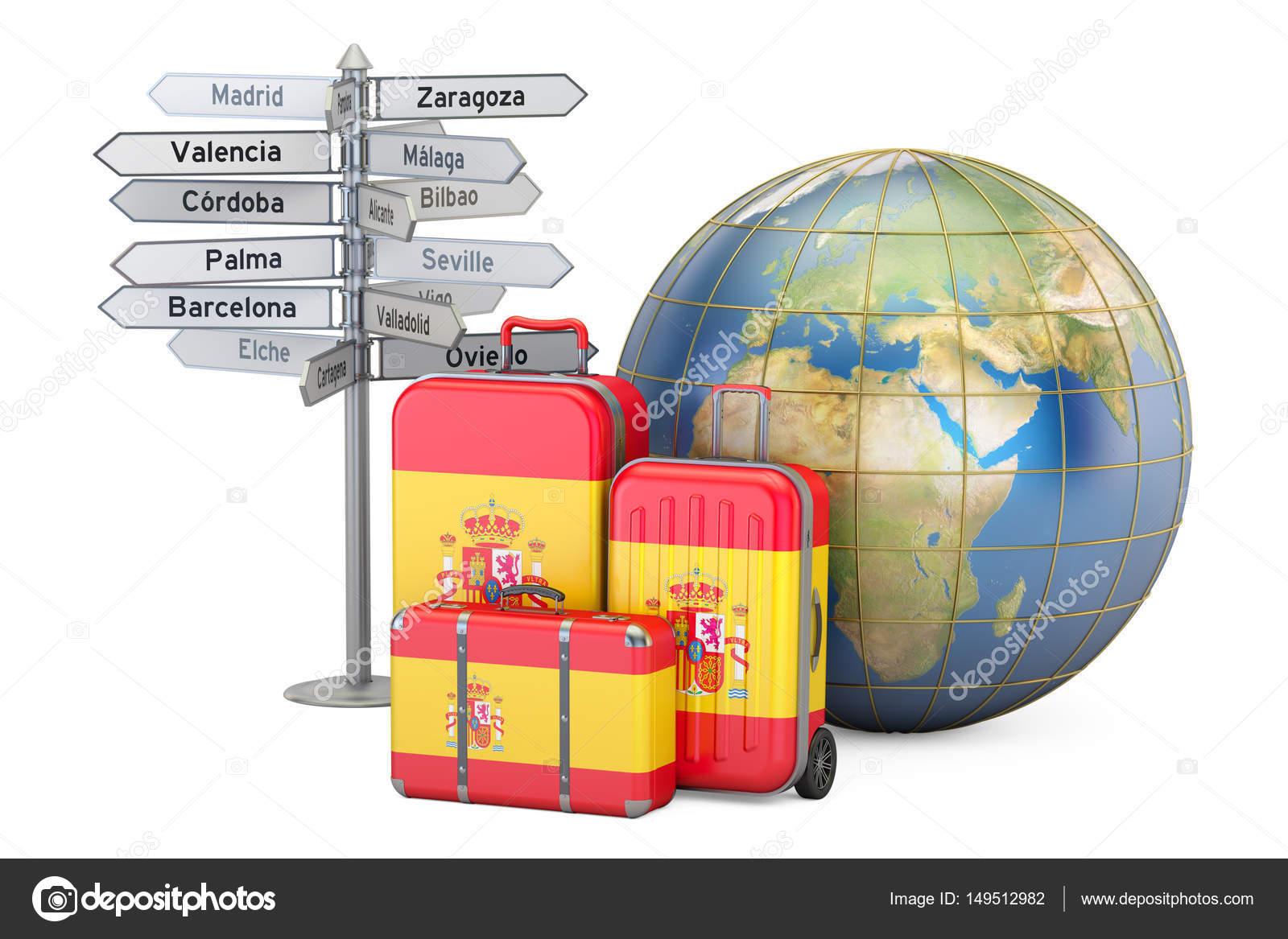 Concepto de viajes de espa a maletas con bandera espa ola poste indicador y foto de stock - Banera de viaje ...