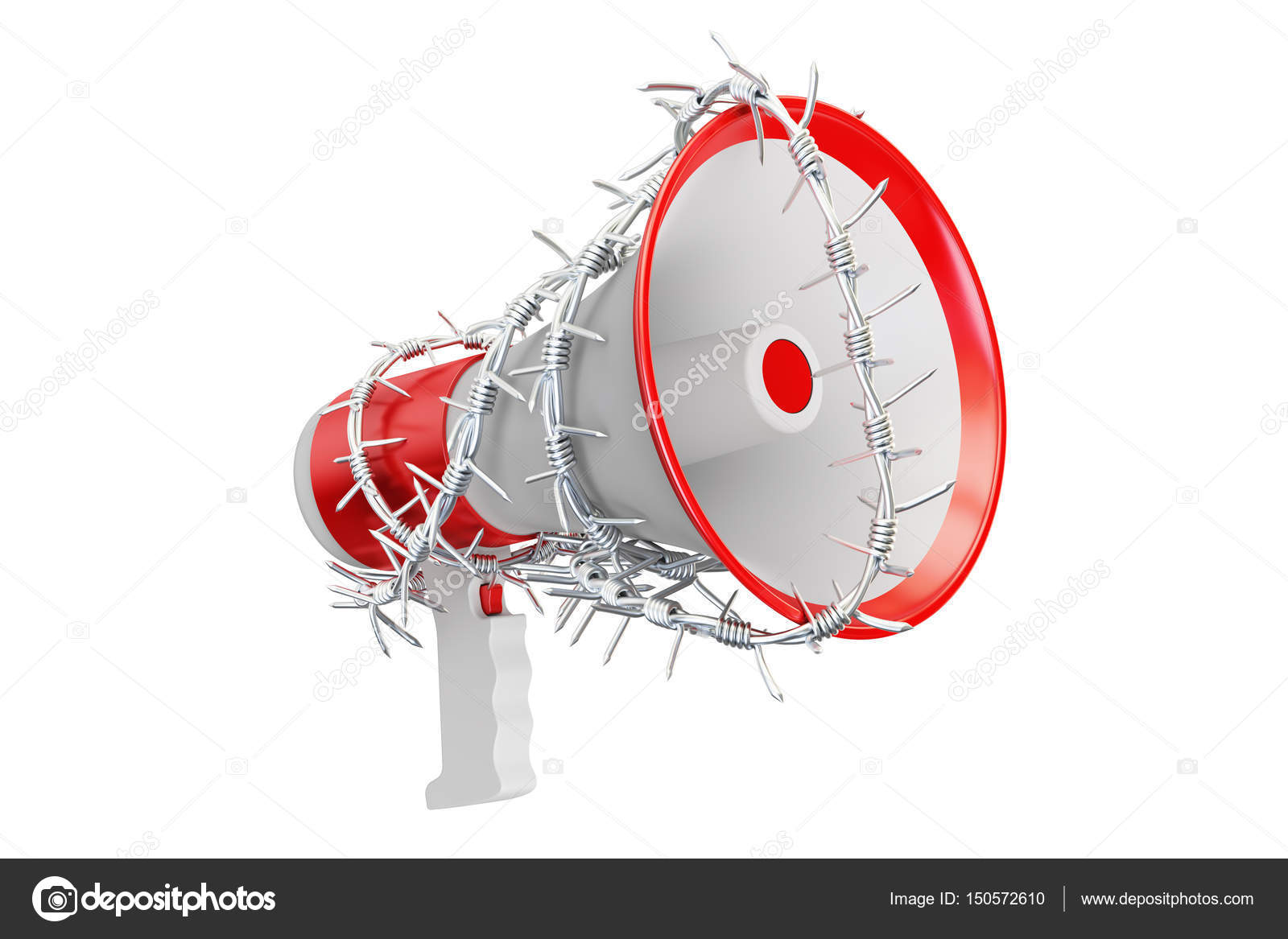 Freedom of sch prohibition concept. Megaphone with barbed ... on