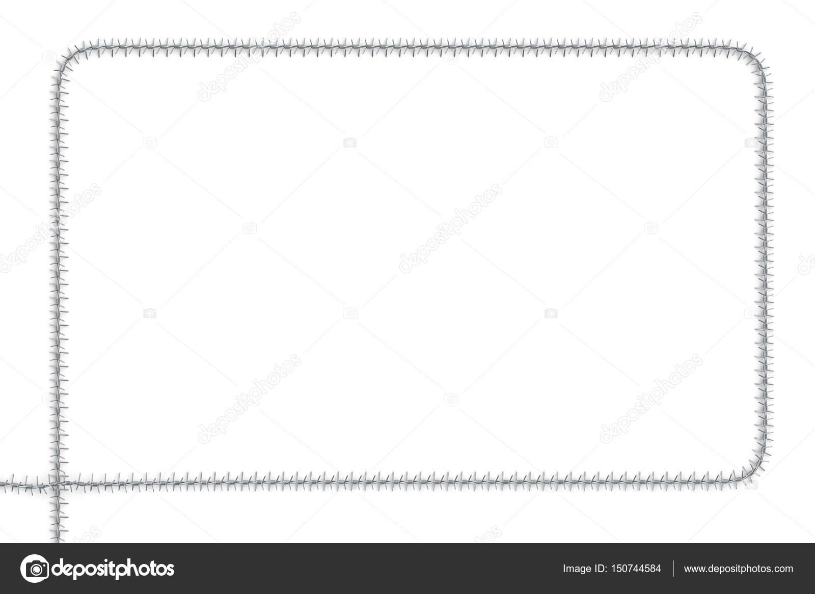 Rahmen aus Stacheldraht, 3D-Rendering — Stockfoto © alexlmx #150744584