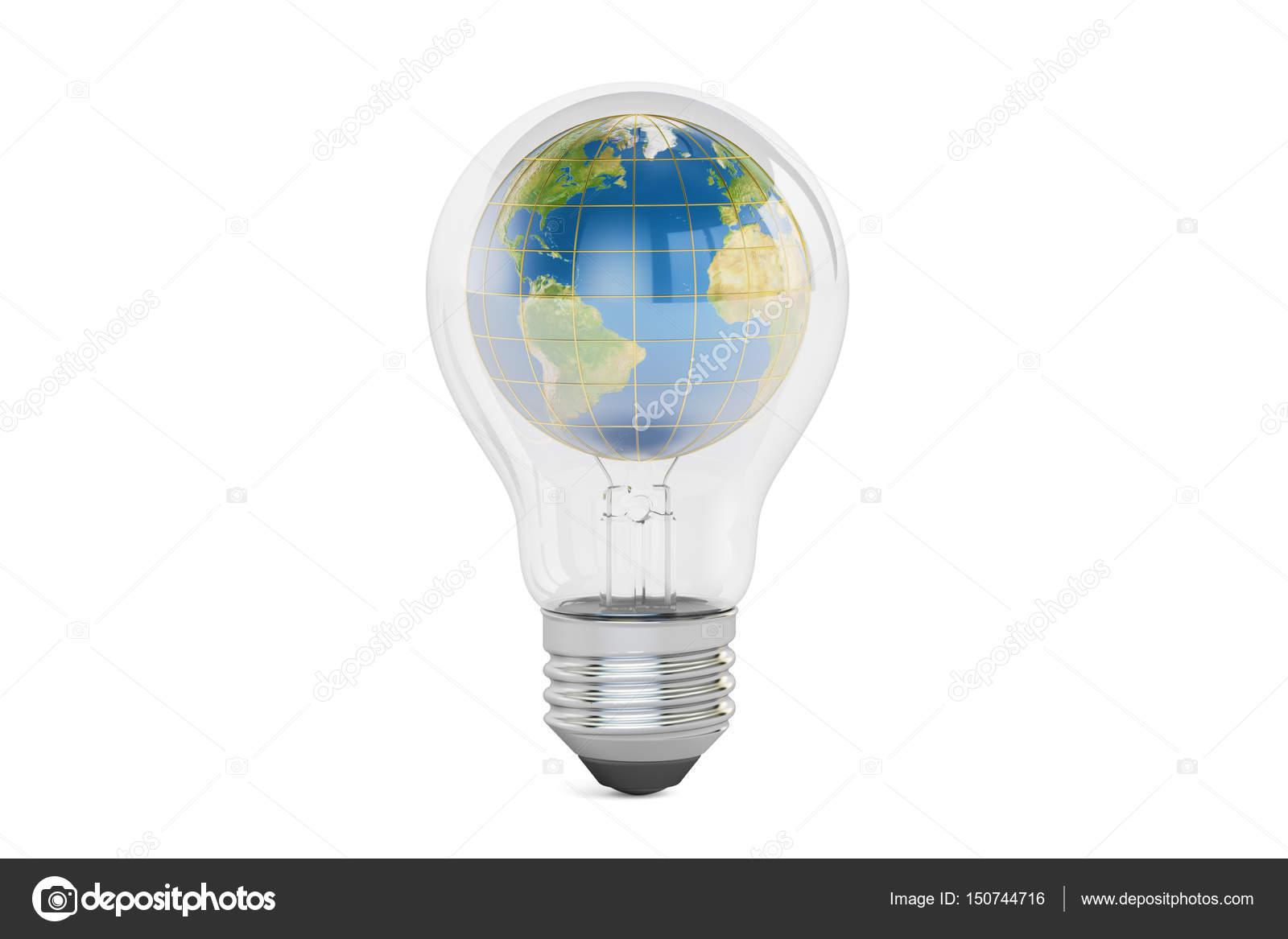 Lampade A Globo A Risparmio Energetico : Lampadina con il globo della terra all interno salvo il concetto