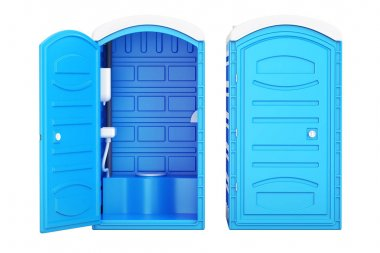 Opened and closed mobile portable blue plastic toilets, 3D rende