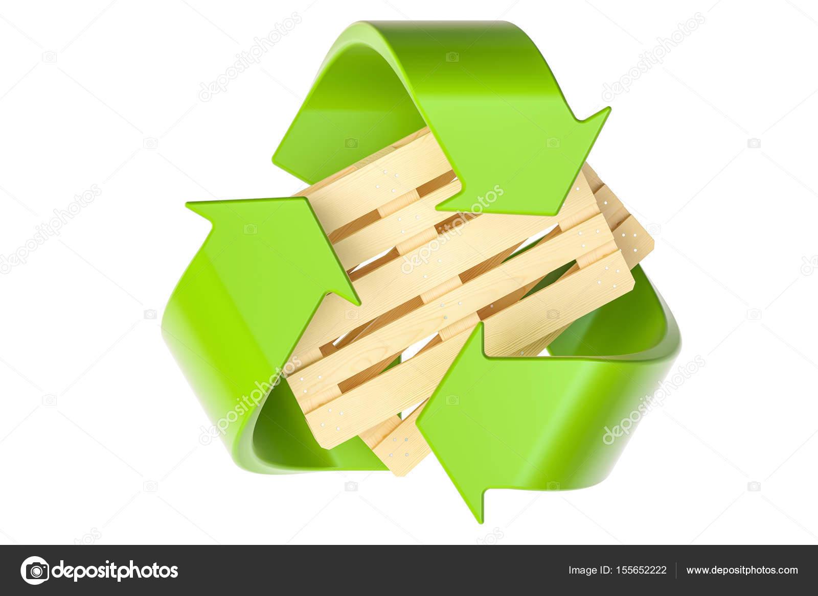 Paletes de madeira com s mbolo de reciclagem renderiza o - Reciclaje de la madera ...