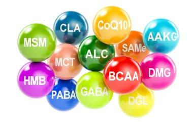 Set of amino acids. AAKG, ALC, BCAA, CLA, CoQ10, GABA, DGL, HMB,